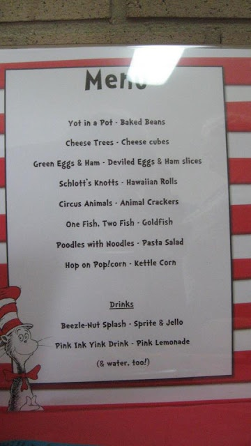 Dr Seuss birthday menu! On cat in the hat paper bought at party city