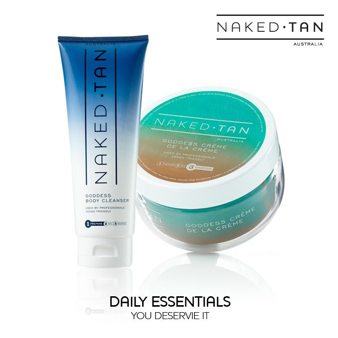 Maintain your Naked Tan for longer with these daily essentials. Cleanse your skin daily with Goddess Body Cleanser. Enriched with Aloe Vera and Macadamia Oil to moisturise your skin leaving it purified, clean & beautifully tanned. Wash away the day not your Naked Tan! After showering or before bed hydrate & nourish your skin with the luxurious Goddess Crème de la Crème. Enriched with Shea Butter and Cocoa Butter it's the perfect everyday body moisturiser to increase the longevity of your…