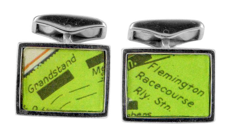 Flemington Grandstand vintage street directory cufflink
