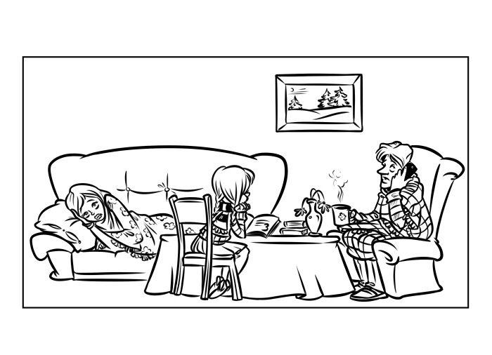 Семья болеет иллюстрация Эфен Гай