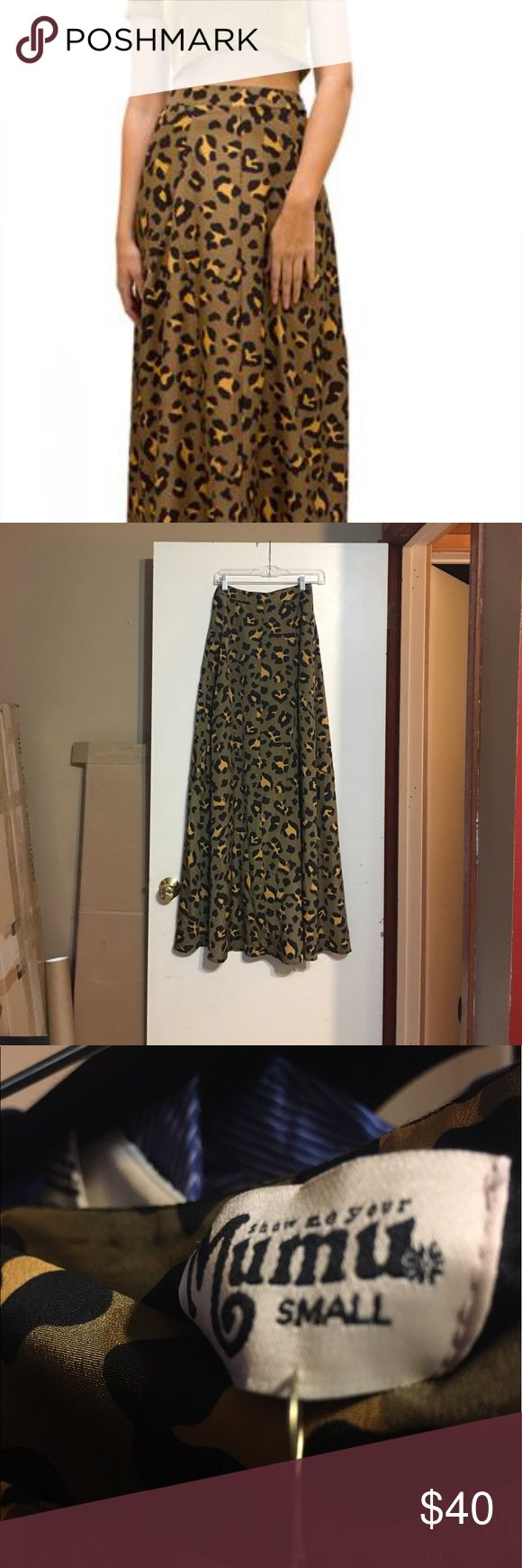 "Show Me Your Mumu leopard maxi skirt, size Small Show Me Your Mumu Princess Di ball gown skirt in Golden Grahams (leopard print). 13"" waist (measured flat), 45"" long, side zipper, short black slip underneath. 100% polyester. NWT, never worn. Show Me Your MuMu Skirts Maxi"