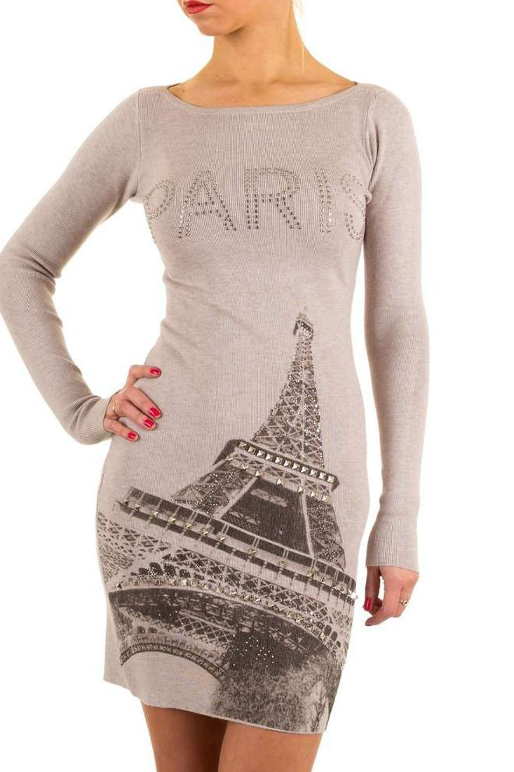 Taupe Studded Print Knitted Mini Dress - Designer Fashion Brands Online Shopping.  R950.00  http://fashionhub.co.za/taupe-studded-print-knitted-mini-dress.html
