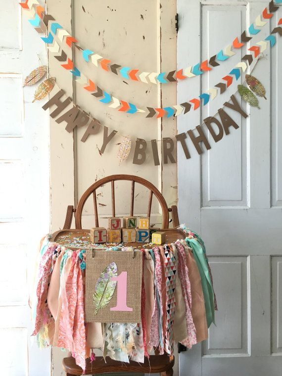 Girls High Chair Banner. First Birthday Party by QuiltedCupcake