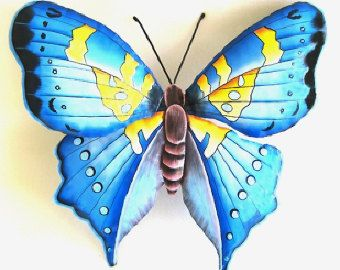 Butterfly - Hand Painted Metal Blue Butterfly Wall Hanging - Upcycled Haitian Steel Drum Tropical Art - BU-513-L-BL