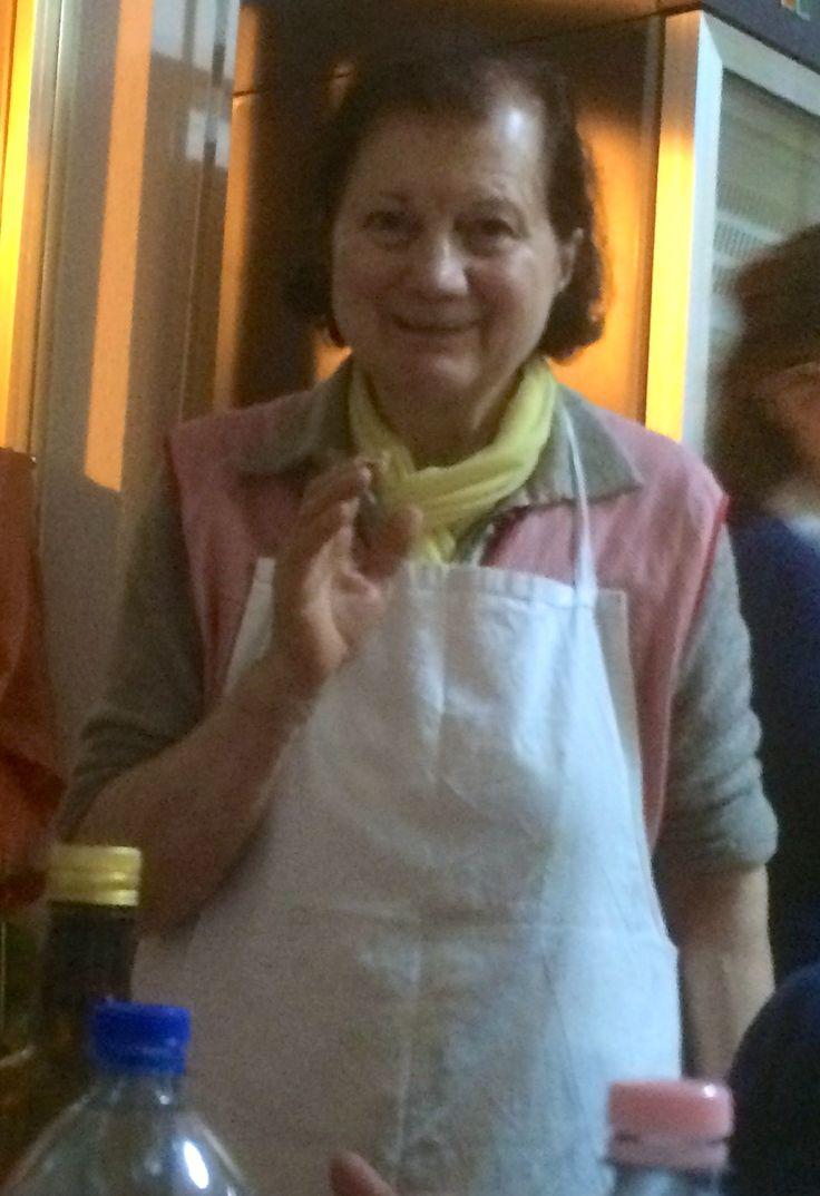 La Signora Marcella Trabalzini at Cittino explaining how she makes her divine coniglio fritto...