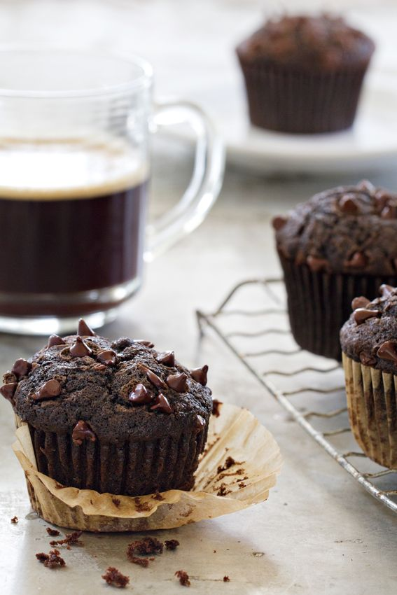 Chocolate Zucchini Muffins have bits of chocolate chips. So, so good.