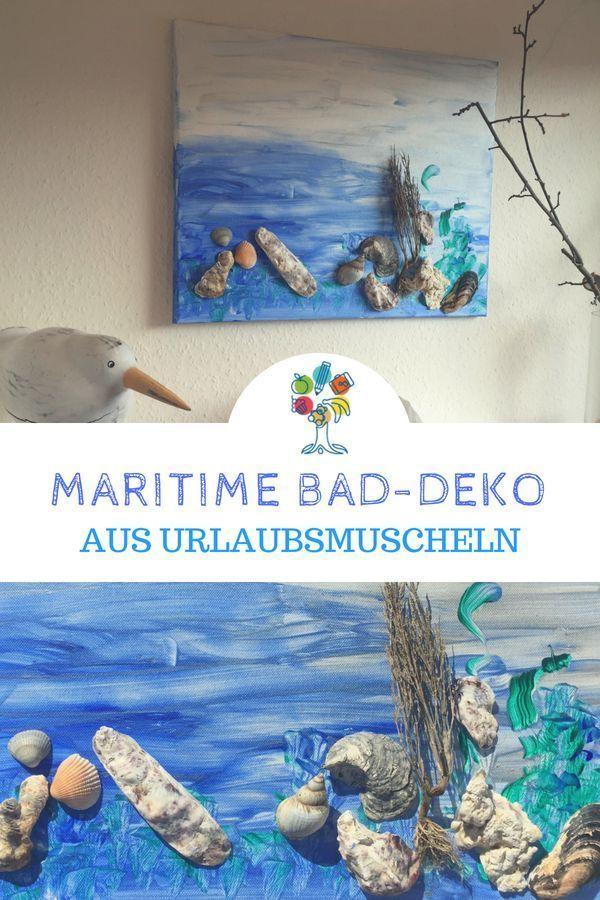 Muschelbild basteln als maritime Deko fürs Badezimmer ...