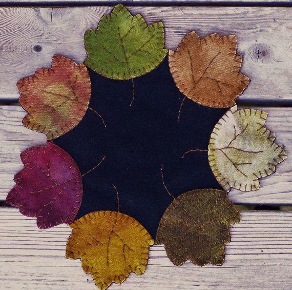 Penny Rug Wool Autumn Leaves
