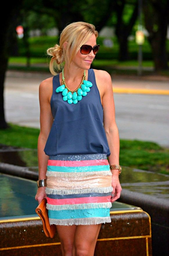 color: Fashion, Skirts, Style, Clothes, Blue, Spring Summer, Summer Outfits, Necklace