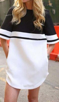 Rochie/bluza alb cu negru, semi-transparenta