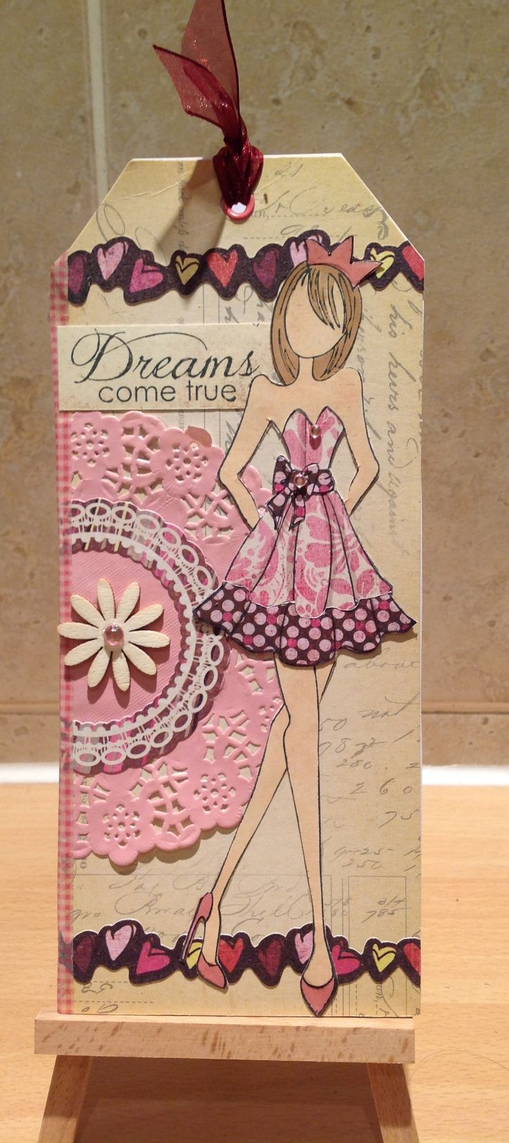 Tag card using prima doll stamp.