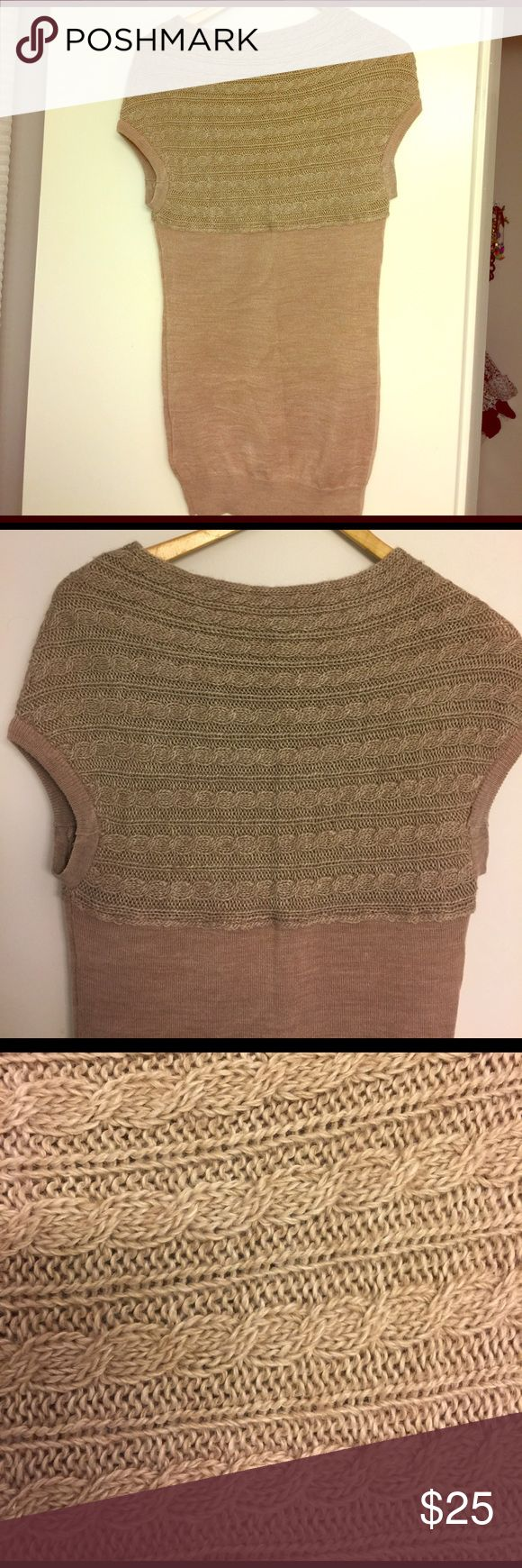 Mango cable sweater tank SZ S Camel color Mango cable sweater tank SZ S. Purchased in Europe at Mango store, this twist in the classic cable sweater is fun and flattering. Very good condition! Mango Sweaters