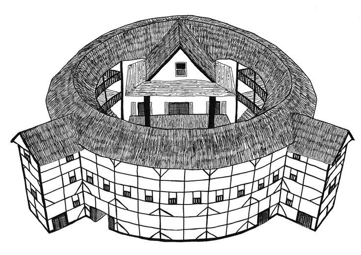 London - Shakespeare's Globe Theatre - Pen drawing by Michael Levi ...