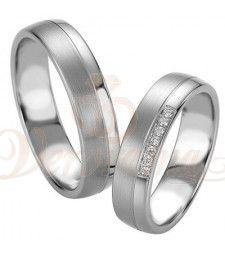 Βέρες γάμου από πλατίνα με διαμάντι Breuning 9072-9073