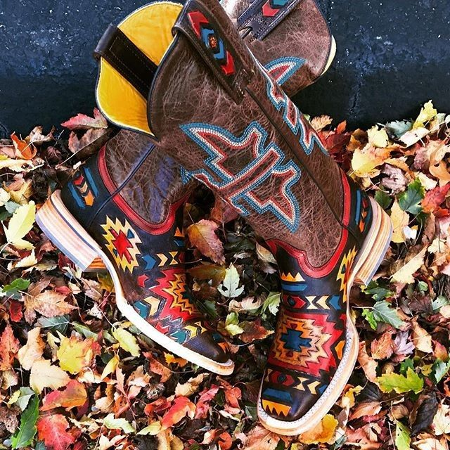 Tin Haul 'n it into Fall with these aztec cowgirl boot stunners