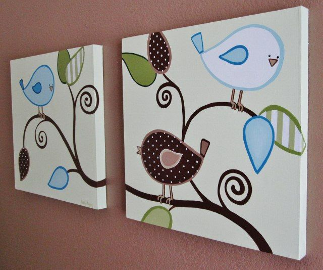 Baby Birds for Boys Nursery Canvas Art for by MurrayDesignShop, $160.00