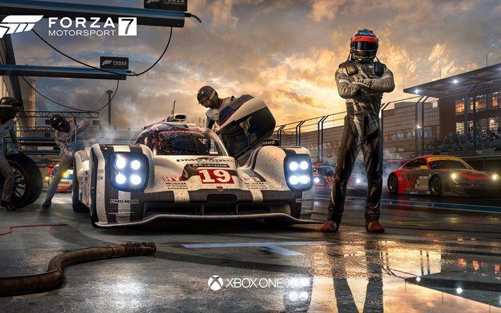 Herunterladen hintergrundbild 4k, forza motorsport 7, 2017-spiele, poster, racing simulator