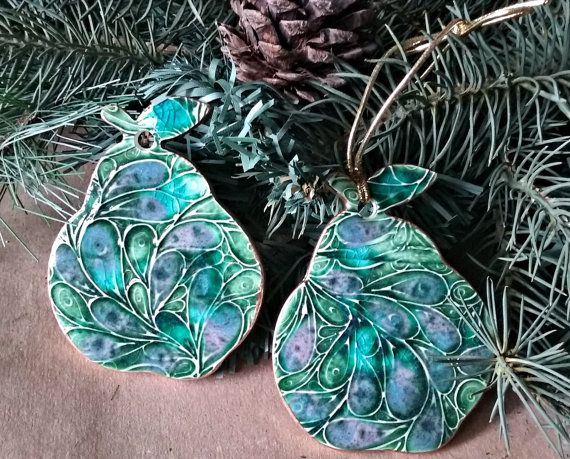 TWO Ceramic Pear Christmas Holiday Ornaments gold edged ...