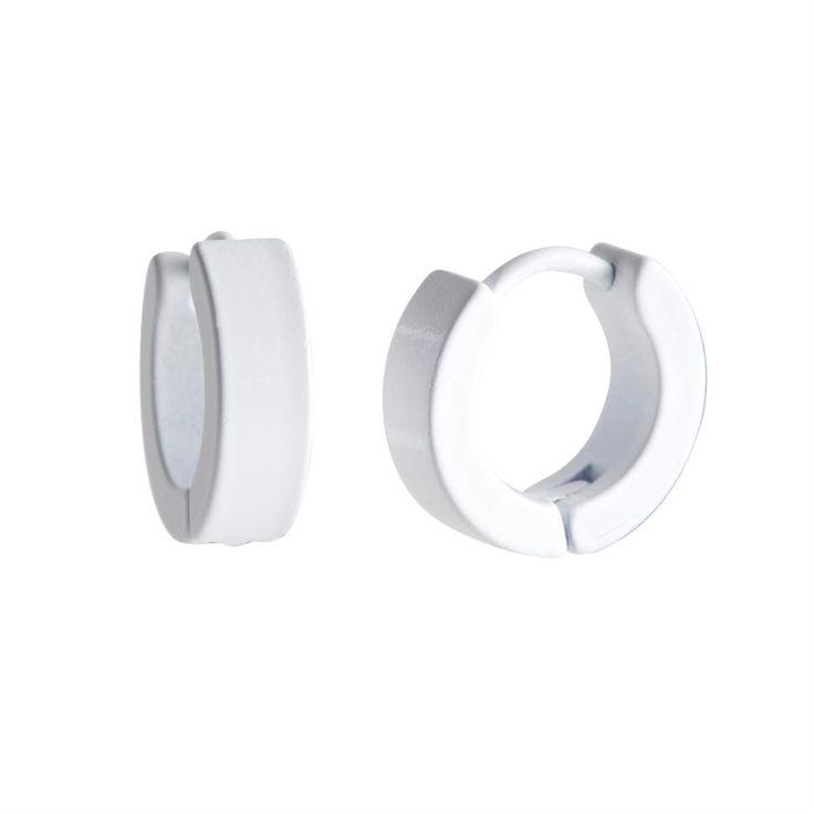 Men S White Stainless Steel Hinged Hoop Earrings By Urban Male