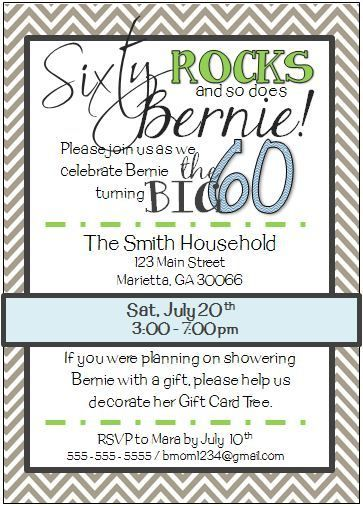 17 Best images about invitations on Pinterest | 60th birthday ...