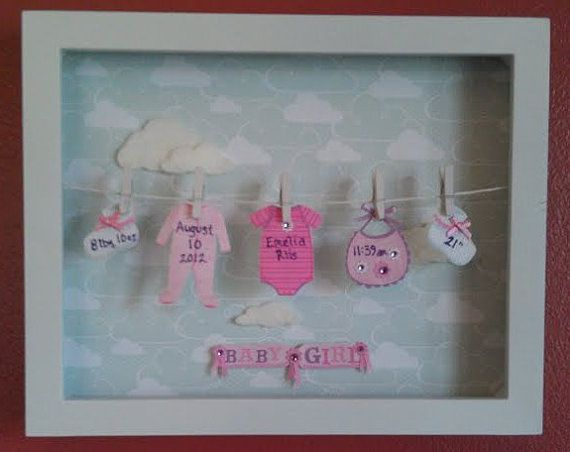 Baby Stats Clothesline Shadow Box with Fuzzy Cloud Background on Etsy, $40.00