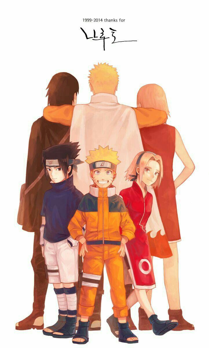 1999 - 2014, Thanks, Team 7, Naruto, Sakura, Sasuke, text, young, childhood…
