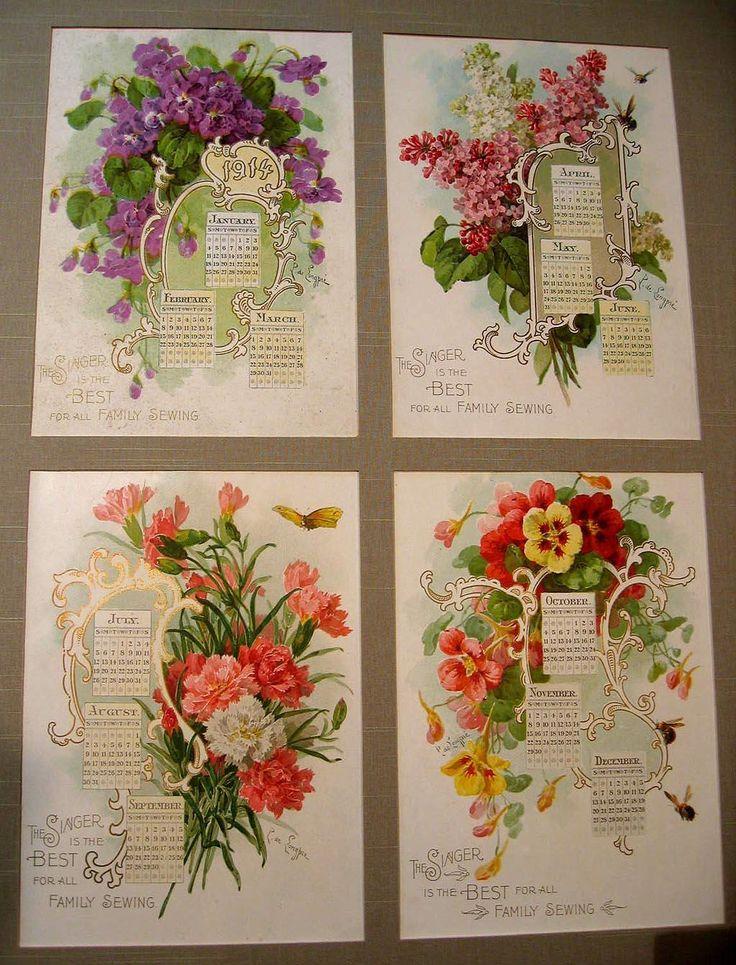 Antique Paul de Longpre Flower Calendar Print s Singer Sewing Violets Lilacs Nasturtiums Carnations Bees Butterflies Buy now at Victorian Rose Prints on rubylane.com