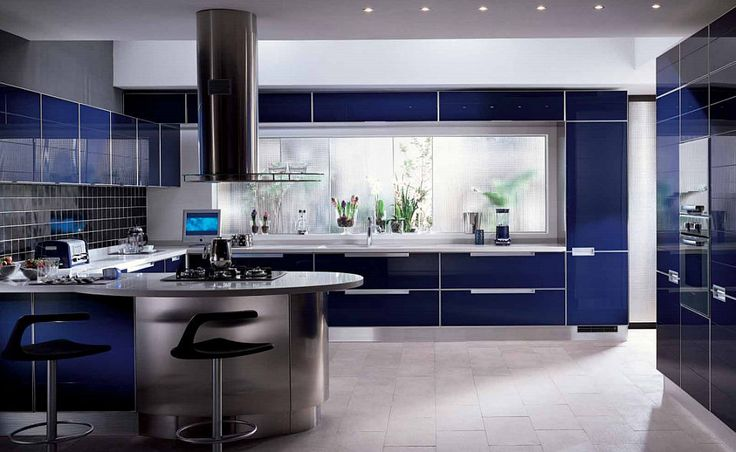 Awesome modern kitchen design featuring a glossy blue for Blue kitchen design