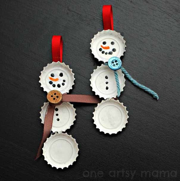 bottle cap snowmen. paint caps, glue to a strip of fabric or cardboard with ribbon loop.
