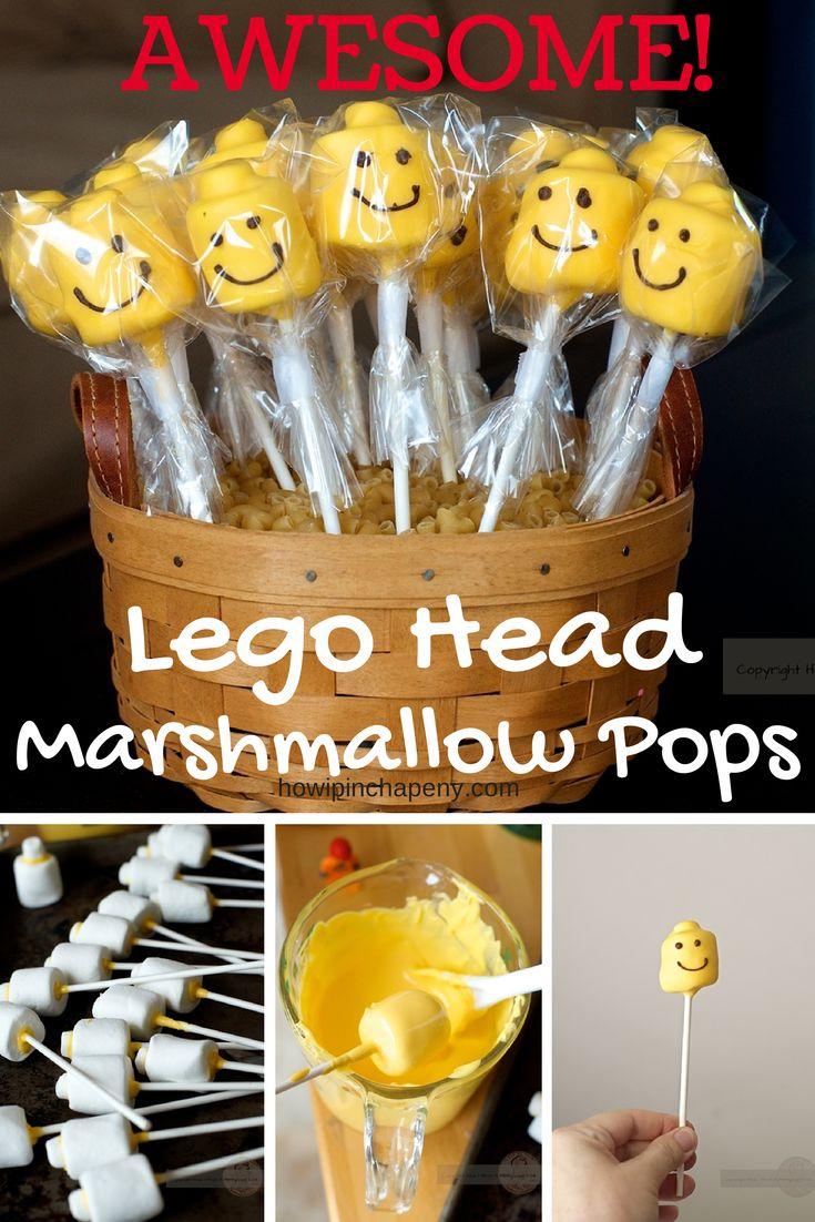 Deze legohoofden zijn zo cool om uit te delen voor legofans. Je maakt deze traktaties met mini-marshmallows, gewone marshmallows, gele smeltchocolade, lollystokjes en een pen geschikt om mee op voedsel te schrijven.