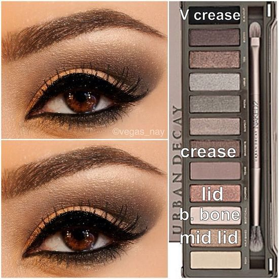 Steps for Smokey Brown using the Urban Decay Naked Palette 2 1.) prime eye w/ urban decay primer potion; & pat CHOPPER on lid 2.) blend out SNAKEBITE in crease & BOOTYCALL to brow bone 3.) w/ an angled shading brush; apply BLACKOUT TO V crease & blend over SNAKEBITE to darken; blend well 4.) then apply HALF BAKED (gold) to middle of lid and slightly blend outward over CHOPPER to make lid