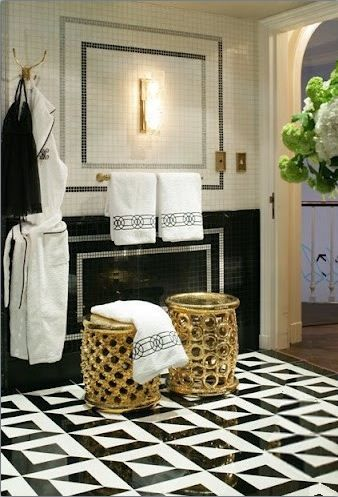 pattern & tile inspiration.  black, gold and white interior design & decor ideas - Bathroom
