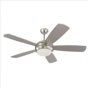 $124.30 Monte Carlo 5DI52BSD-L Discus 52-Inch Contemporary Ceiling Fan with Light Kit and Five Silver Blades, Brushed Steel
