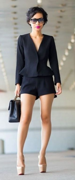 Cute idea. But the shorts have to be longer to wear to an office and the stripper shoes need to be swapped out for maybe sandals or something more appropriate.