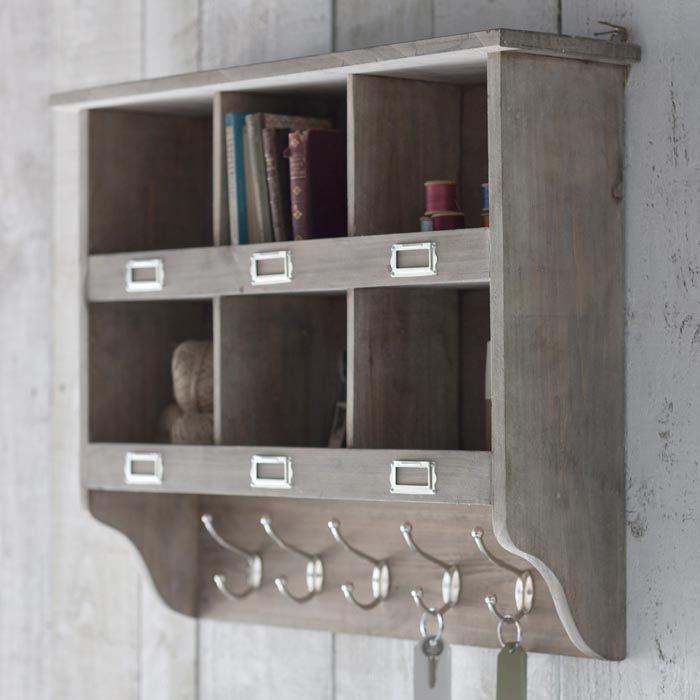 Wooden wall unit with hooks