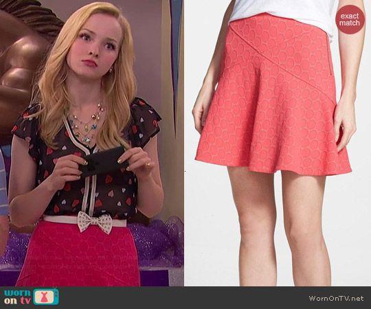 Liv's red polka dot skirt on Liv and Maddie.  Outfit Details: http://wornontv.net/41219/ #LivandMaddie