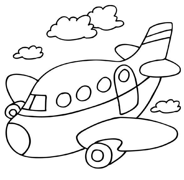 Kleurplaat: vervoer vliegtuig
