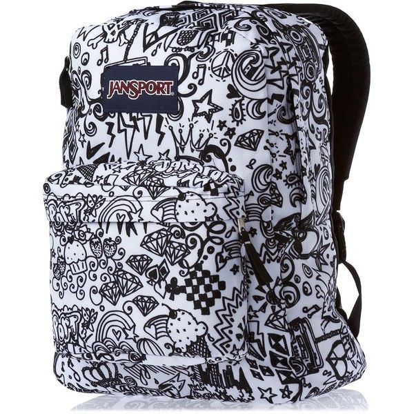 JanSport Superbreak Backpack Black/White Doodle ❤ liked on Polyvore featuring bags, backpacks, jansport daypack, black and white bag, rucksack bag, black white bag and knapsack bags