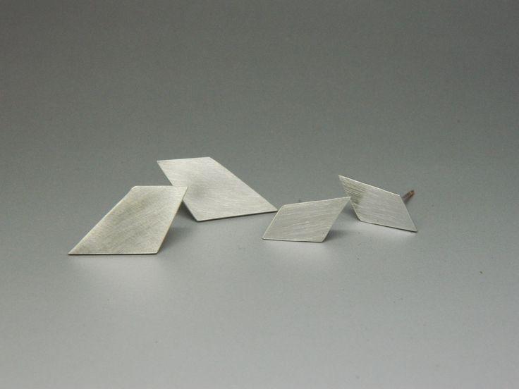 Sterling Silver Angled Diamond Studs
