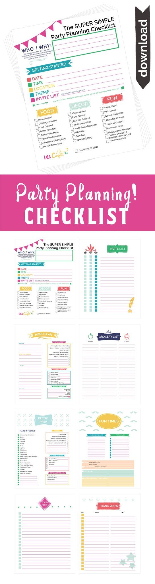 Party Planning Checklist, Printable Party Planner, Free Printable, Party Checklist, Party Planner, Party Planning Template