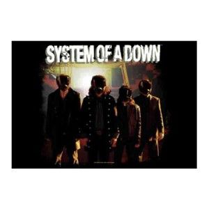 System Of a Down Band Shot 2 Fabric Poster - Rock out with this System Of a Down Band Shot 2 Fabric Poster! This product is a textile poster featuring the Band Members in gas masks under their logo. Poster measures 30 x 40.