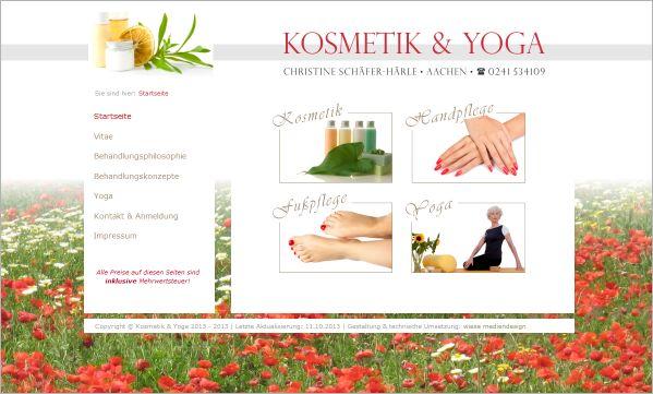 Homepage Kosmetik & Yoga  www.kosmetik-yoga-schaefer-haerle.de