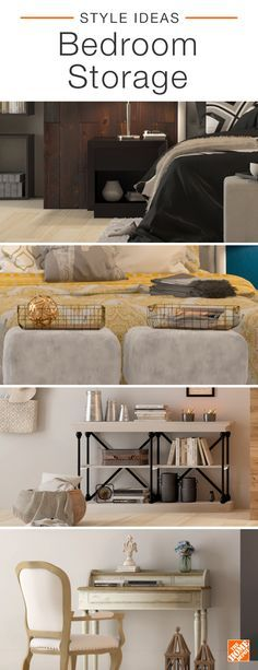 Finding a place for everything in the bedroom is no simple task, but with a little creativity you can add storage and style. You can pair a modern nightstand and a pair of faux-fur foot stools for extra surface area, or organize your space with an industrial console and a European-inspired desk. Click to explore more bedroom storage options.