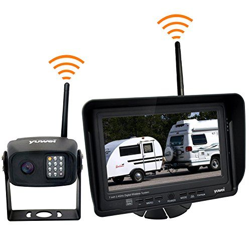 Wireless Backup Camera System Kit, IP69K Waterproof Wireless Rear View Camera + 7'' LCD Wireless Reversing Monitor for Trailer, RV, Bus, Trucks, Horse-trailer, School Bus, Farm Machine,etc  Support 4 cameras, each camera to be viewed individually (no quad), additional add-on camera YW-CC062TX sells on our store  7 Inch LCD monitor, Built in Digital wireless receiver, No additional RX box, The guideline can be turned on/off controlled by the button  Camera built in transmitter ,No addit...