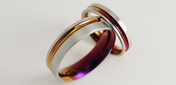 Wedding Bands , Titanium Rings , Promise Rings , The Cosmos Bands in Bronze and Purple Wine