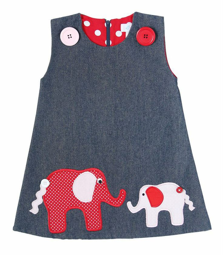 Elephant Appliqué pinafore dress
