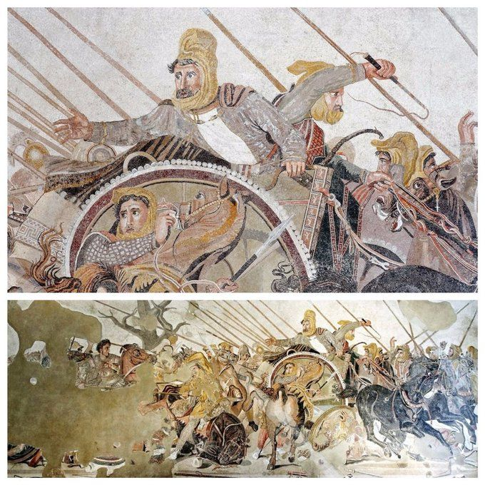 The famous 'Alexander Mosaic' at the Museo Archeologico Nazionale di Napoli and a close-up of the maelstrom which surrounded Darius III and the Persian warriors.  #Macedonia #AncientGreece #AlexandertheGreat #MilitaryHistory #Warfare #Museums #Mosaic