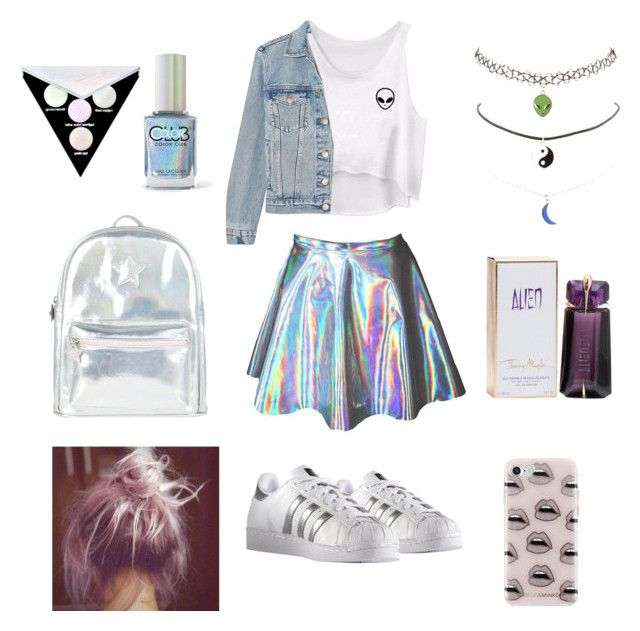 """""""holo me#12"""" by andreeapetre4 on Polyvore featuring Frame, Charlotte Russe, adidas, Color Club, Kat Von D, Accessorize, Thierry Mugler and Rebecca Minkoff"""