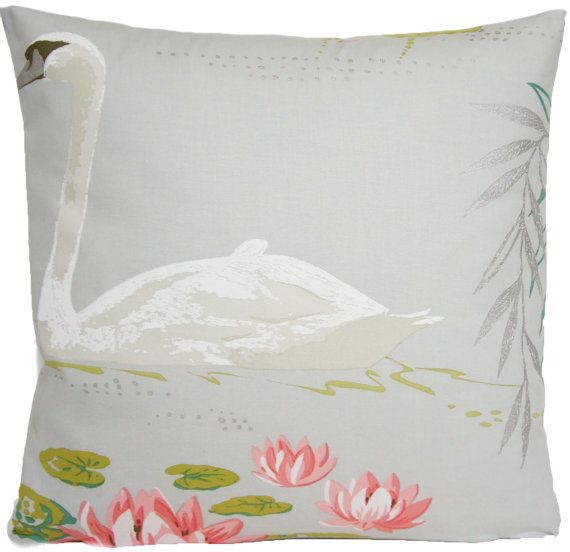 Grey Cushion Cover Swan Pattern Throw by CoralHomeAccessories