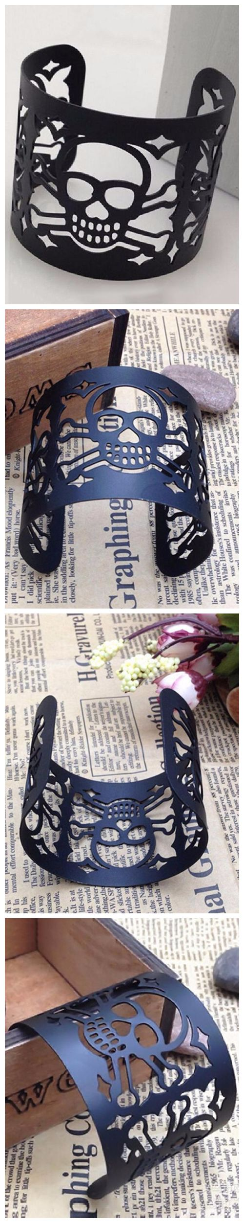 Fashion Unisex Metal Bracelet Hollow-Out Skull Wide Punk Style Bangle Jewelry $3.99